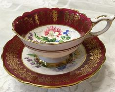 Stunning Royal Stafford Red Floral Tea Cup and Saucer