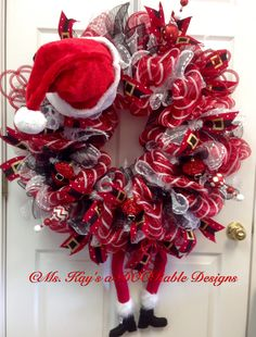 Santa wreath. Check out more designs on my FB page: Ms. Kay's a-DOORable Designs
