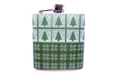 Green Trees and Snowflakes Christmas Flask