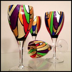 Hand painted wine glasses Abstract colorful by SpitsnogleDesigns, $40.00