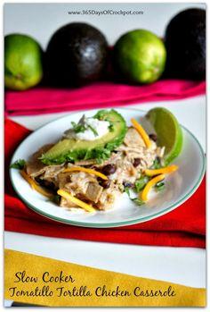 Recipe for Tomatillo Chicken Tortilla Casserole in the Slow Cooker #casserole #slowcookerrecipe #crockpot