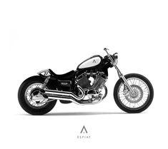 awesome XV 535 Virago Bobber conversion with Caferacer fiberglass rear custom bike designb um . Yamaha Virago, Virago 535, Cafe Racer, Custom Bobber, Custom Bikes, Chopper, Moto Car, Kustom, Cool Bikes