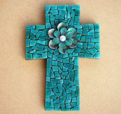 Handmade aqua blue glass tiles mosiac cross.  by IrmaCreations,