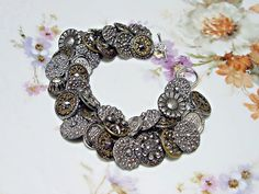 Handmade Button Bracelet Victorian Cut Steel by 2Good2BeThrough