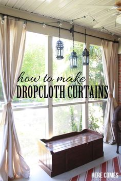 42 Brilliant Country Decor Ideas To Make For Your Porch,Best Country Decor Ideas for Your Porch - Drop Cloth Porch Curtains - Rustic Farmhouse Decor Tutorials and Easy Vintage Shabby Chic Home Decor for Kit.