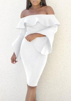 a5d8c480d96 White Ruffle Backless Off Shoulder Flare Sleeve Bodycon Prom Party Midi  Dress