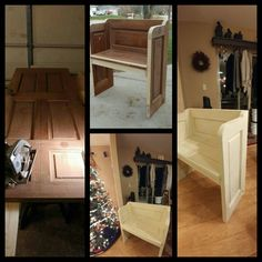 My husband and I recycled this door into a pew bench.  Once he decided where the cuts would go, he used screws and plugs to cover, glued and nailed the project together.  Then we lightly sanded and painted a truffle chalk paint under 2 coats of cashew chalk paint.  I distressed the finish to expose the truffle and then waxed it.