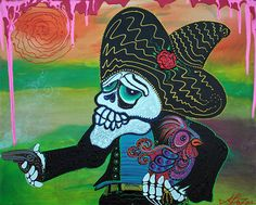 """Day Of The Dead Painting - Chicken Farmer - 24 x 30"""" Acrylic Canvas barbosaart  #Modernism"""