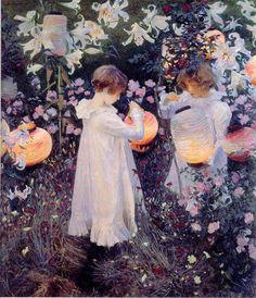 Carnation, Lily, Lily, Rose.  Illumination on canvas. John Singer Sargent.