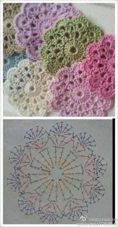 "Delicadezas ""Crochet Flower Coaster - with Diagram"", ""Crochet - coasters pattern (instructions in Russian)"", ""Free crochet coaster pattern using one Mandala Au Crochet, Crochet Diy, Crochet Motifs, Crochet Flower Patterns, Crochet Squares, Love Crochet, Crochet Doilies, Crochet Flowers, Granny Squares"