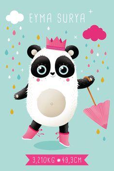 Faire-part de naissance personnalisé. Illustration Princesse Panda. Format 10x15cm - recto/verso. Papier cyclus 300gr. Portfolio Illustration, Illustrations, Edition Jeunesse, Kawaii, Clip Art, Movie Posters, Kids, Image, Design