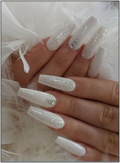 Hot Acrylic Coffin Nails Trend Ideas In 2019 – - white coffin nails design, acrylic coffin nails, coffin nails matte, coffin nails rhinestone, glitt - Cute Acrylic Nail Designs, Fall Nail Art Designs, Best Acrylic Nails, White Acrylic Nails With Glitter, White Nail Designs, Winter Acrylic Nails, White Acrylics, Christmas Acrylic Nails, Holiday Nails