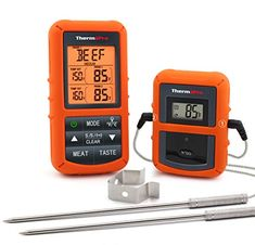 Digital Thermometer for Dad for Fathers Day! Wireless Remote Digital Cooking Food Meat Thermometer with Dual Probe for Smoker Grill Oven BBQ JKE top Fathers Day pick. Bbq Thermometer, Digital Thermometer, Barbacoa, Cooking On The Grill, Cooking Food, Cooking Ideas, Smoker Cooking, Cooking Turkey, Cooking Salmon