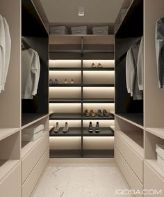 Combining modern minimalist style, luxurious themes, and a hint of urban industrial influence, this handsome apartment could serve as a stunning showcase of tod - Luxury Decor Walk In Closet Design, Wardrobe Design, Closet Designs, Walk In Robe Designs, Walk In Wardrobe, Apartment Interior Design, Interior Design Kitchen, Modern Interior Design, Interior Decorating