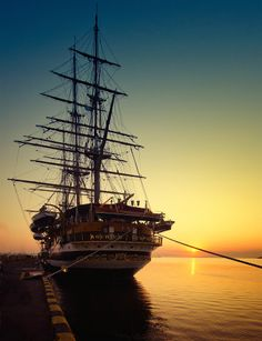 Amerigo Vespychi, photographed by Sergey Dymchenko.  The vessel is a full rigged three-masted steel hull 82.4 m long, with an overall length of 101 m and a draught of about 7 m. Under auxiliary diesel-electric propulsion the Amerigo Vespucci can reach 10 knots and has reached 12 knots by sail in heavy seas.