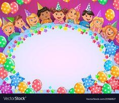 Birthday bright frame cute kids vector image on VectorStock Birthday Wishes, Happy Birthday, Cupcake Illustration, Teacher Birthday, School Frame, Kids Vector, Christmas Frames, Child Day, Kindergarten Teachers