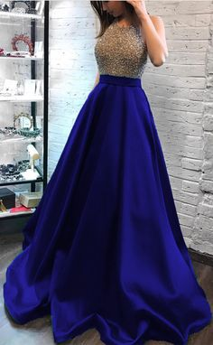 royal blue prom dresses ball gowns beaded halter
