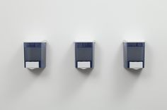 Josh Kline, Share the Health   (Assorted Probiotic Hand Gels), 2012  Three dispensers containing live cultures in nutrient gel  Each 6¼ x 4½ x 4 inches