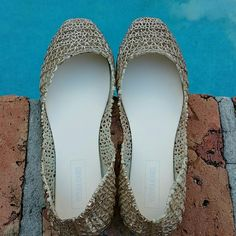Golden jelly slip on flats Very pretty, and comfortable. You can go from work to the pool with this babes. Shoes Flats & Loafers