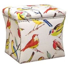 Pine wood storage ottoman with bird-print upholstery and nailhead trim. Handmade in the USA.