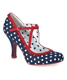 Navy Polka Dot Dorothy Court Shoes from Ruby Shoe, 1950s Shoes on zulily.co.uk