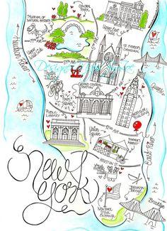 New York City Map Print Boston By Designermapsbyzoe Zofia Jane Custom Wedding