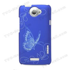 Butterfly Laser Carving Hard Cover for HTC One X S720e Edge Endeavor / HTC One XL - Dark Blue