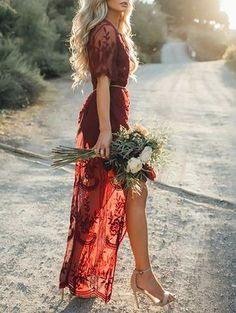 Ecstatic Burning Lace Floral Print Maxi Ruby Dress