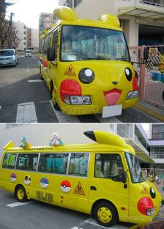 Vehicles transporting kindergarten in Japan