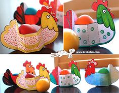Thinking this would be a cute favor, sans eggs, for a quilting get together (Hen Party Theme) Paper HENS + template Easy Crafts For Kids, Easy Diy Projects, Diy For Kids, Hens Party Themes, Diy Ostern, Egg Holder, Easter Crafts, Activities For Kids, Origami