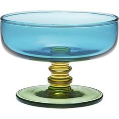 Marimekko Sukat Makkaralla Turquoise Footed Bowl in New | Crate and Barrel