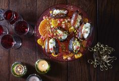 Clementines and dates with mascarpone, pistachios and pomegranates from Nourish by Jane Clarke