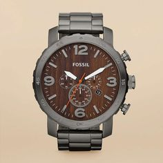 Wood and brushed metal watch. $145 from Fossil.
