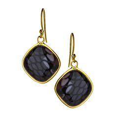 Seraphina Square Purple Black Reptile Print Drop Earrings ($75) ❤ liked on Polyvore