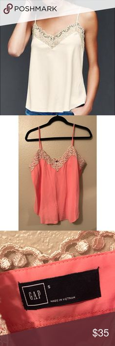 Gap Lace Cami NWOT! Beautiful Gap lace cami in salmon color size Small. Never been worn. Really soft material. Lovee it I just never came across to using it because I have the same color the model is wearing. GAP Tops Camisoles