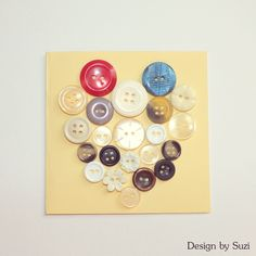 Design by Suzi: Gombíkové srdce Heart Cards, Be My Valentine, Button, Tags, Design, Home Decor, Decoration Home, Room Decor
