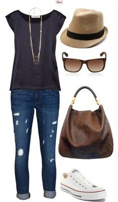 The Casual Outfit Look, Grey Top, Jeans and Sneakers