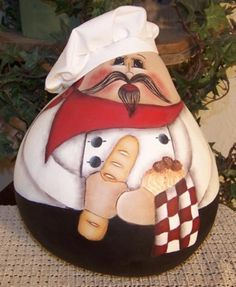 Chef Gourd Pattern by Cindy Trombley of Painting On Jars