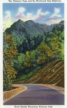 Great Smoky Mts. Nat'l Park, TN - View of the Chimney Tops from Newfound Gap Highway