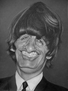 """El músico ex-baterista de """"Los Beatles"""", Ringo Starr, caricaturizado por el artista Chris..."""