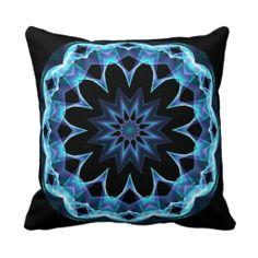 Crystal Star, Abstract Glowing Blue Mandala Throw Pillow $32.95
