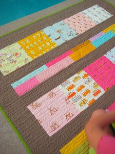 modern quilt. love the binding colour choice