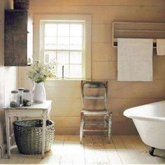 Rustic White Country Bathroom