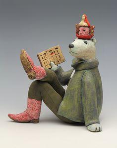 ceramic figure bear storyteller hieroglyphics cowboy boots by Sara Swink Pottery Sculpture, Pottery Art, Ceramic Figures, Ceramic Art, Easter Show, World Birds, Sashiko Embroidery, Clay Projects, Clay Art
