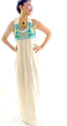 Peacock Or Floral  Bohemian Handmade Mexican Embroidered Pure cotton Maxi Wedding Dress
