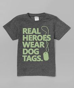 Heather Gray 'Real Heroes Wear Dog Tags' Tee - Toddler & Kids