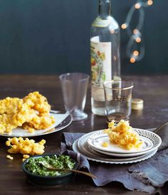 CORN FRITTERS WITH JALAPEÑO AND CORIANDER SALSA