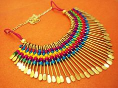 Tibetan Multi Color Silk Thread & Metal Strings Antique Tribal Art Necklace JN88 #EthnicJewel