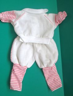 Vintage Coleco Cabbage Patch Doll Clothes White & Pink Striped Sweatsuit Outfit #Coleco #ClothingAccessories
