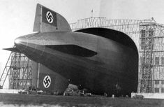 The Hindenburg only just fits inside the Lakehurst hangar, 18 inches to spare...I always forget it was a German airship.